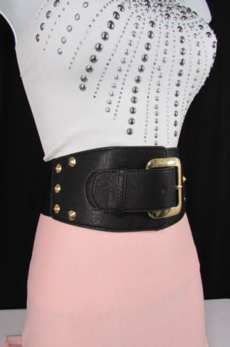 Dark Gray / Black Stretch Elastic Back Faux Leather Wide High Waist Hip Belt Gold Buckle Studs New Women Fashion Accessories S M - alwaystyle4you - 20