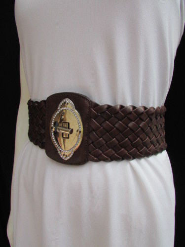 Black / Brown / Pink / Gray Wide Faux Leather Elastic Waist Hip Braided Wide Belt Silver Buckle New Women Fashion Accessories M  L - alwaystyle4you - 25