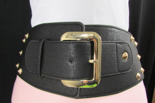 Dark Gray / Black Stretch Elastic Back Faux Leather Wide High Waist Hip Belt Gold Buckle Studs New Women Fashion Accessories S M - alwaystyle4you - 21