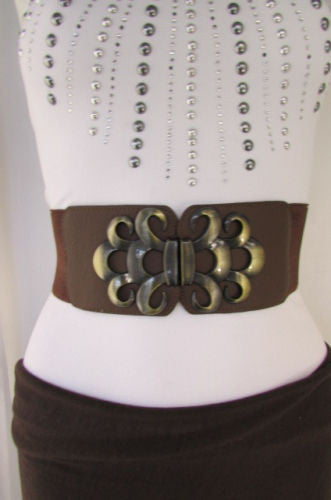 Brown / Black / Gray Faux Leather Elastic Stretch Back Belt Antique Gold Buckle New Women Fashion Accessories S M - alwaystyle4you - 25