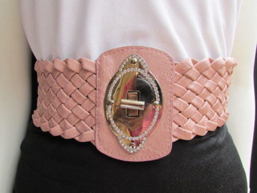 Black / Brown / Pink / Gray Wide Faux Leather Elastic Waist Hip Braided Wide Belt Silver Buckle New Women Fashion Accessories M  L - alwaystyle4you - 28
