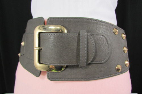 Dark Gray / Black Stretch Elastic Back Faux Leather Wide High Waist Hip Belt Gold Buckle Studs New Women Fashion Accessories S M - alwaystyle4you - 23