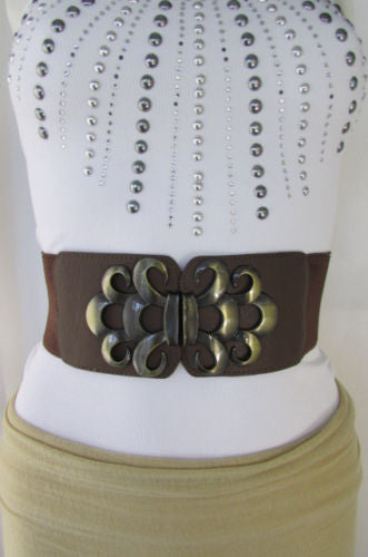 Brown / Black / Gray Faux Leather Elastic Stretch Back Belt Antique Gold Buckle New Women Fashion Accessories S M - alwaystyle4you - 27