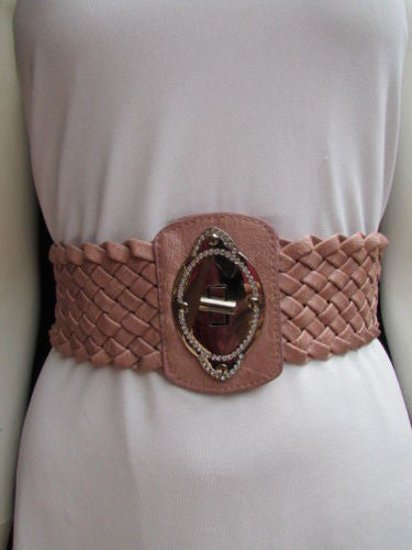 Black / Brown / Pink / Gray Wide Faux Leather Elastic Waist Hip Braided Wide Belt Silver Buckle New Women Fashion Accessories M  L - alwaystyle4you - 30