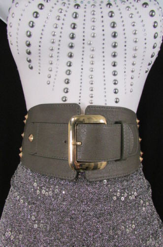 Dark Gray / Black Stretch Elastic Back Faux Leather Wide High Waist Hip Belt Gold Buckle Studs New Women Fashion Accessories S M - alwaystyle4you - 25