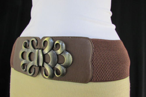 Brown / Black / Gray Faux Leather Elastic Stretch Back Belt Antique Gold Buckle New Women Fashion Accessories S M - alwaystyle4you - 28