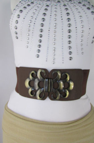 Brown / Black / Gray Faux Leather Elastic Stretch Back Belt Antique Gold Buckle New Women Fashion Accessories S M - alwaystyle4you - 29