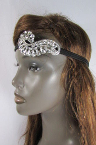Silver Metal Side Head Band Forehead Long Leaf Flower Rhinestone Women Hair Accessories Wedding