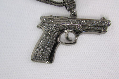 Pewter Metal Necklace Big Pistol Gun Pendant Hip Hop New Men Fashion Gangster Style - alwaystyle4you - 10