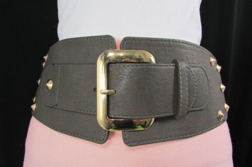 Dark Gray / Black Stretch Elastic Back Faux Leather Wide High Waist Hip Belt Gold Buckle Studs New Women Fashion Accessories S M - alwaystyle4you - 27
