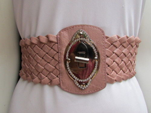 Black / Brown / Pink / Gray Wide Faux Leather Elastic Waist Hip Braided Wide Belt Silver Buckle New Women Fashion Accessories M  L - alwaystyle4you - 33