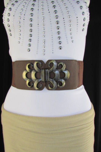 Brown / Black / Gray Faux Leather Elastic Stretch Back Belt Antique Gold Buckle New Women Fashion Accessories S M - alwaystyle4you - 32