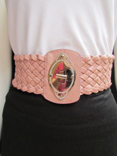 Black / Brown / Pink / Gray Wide Faux Leather Elastic Waist Hip Braided Wide Belt Silver Buckle New Women Fashion Accessories M  L - alwaystyle4you - 34
