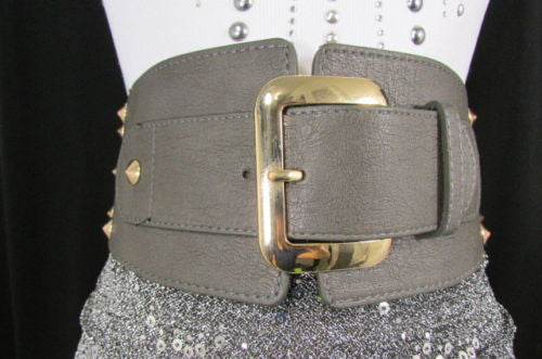 Dark Gray / Black Stretch Elastic Back Faux Leather Wide High Waist Hip Belt Gold Buckle Studs New Women Fashion Accessories S M - alwaystyle4you - 30