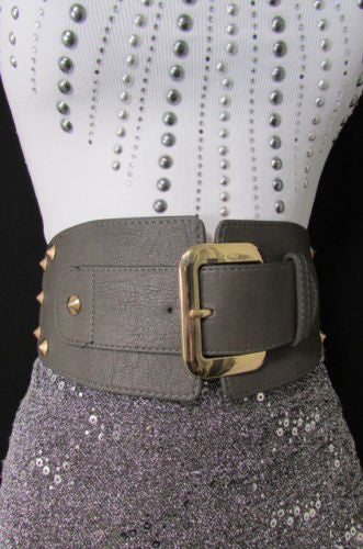 Dark Gray / Black Stretch Elastic Back Faux Leather Wide High Waist Hip Belt Gold Buckle Studs New Women Fashion Accessories S M - alwaystyle4you - 32