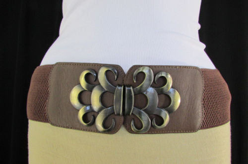 Brown / Black / Gray Faux Leather Elastic Stretch Back Belt Antique Gold Buckle New Women Fashion Accessories S M - alwaystyle4you - 35