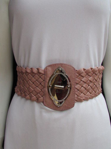 Black / Brown / Pink / Gray Wide Faux Leather Elastic Waist Hip Braided Wide Belt Silver Buckle New Women Fashion Accessories M  L - alwaystyle4you - 37