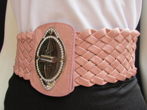 Black / Brown / Pink / Gray Wide Faux Leather Elastic Waist Hip Braided Wide Belt Silver Buckle New Women Fashion Accessories M  L - alwaystyle4you - 38