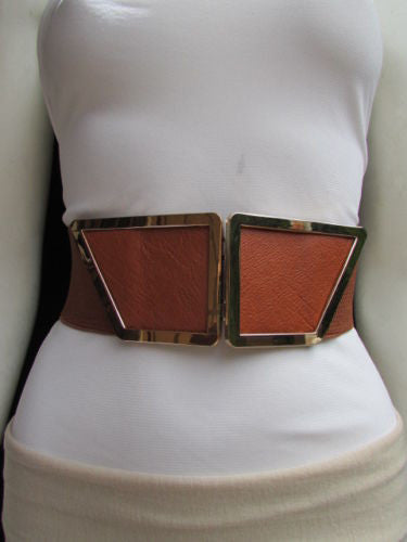 Blue / Dark Brown / Moca Brown Wide Elastic Waist Hip Stretch Back Belt Gold 80's Buckle New Women Fashion Accessories XS - M - alwaystyle4you - 6