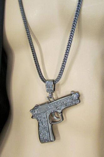 Pewter Metal Necklace Big Pistol Gun Pendant Hip Hop New Men Fashion Gangster Style - alwaystyle4you - 11