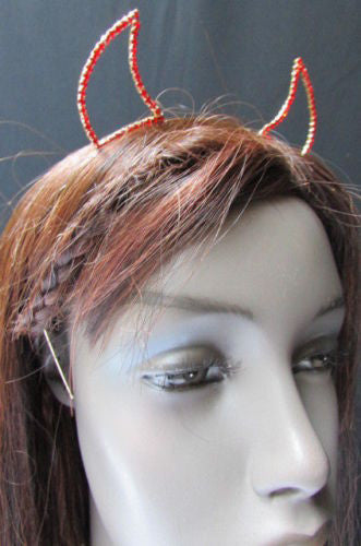 Red Silver Rhinestone Metal Head Band Small Devil Horn Ears Halloween Style Women Hair Accessories