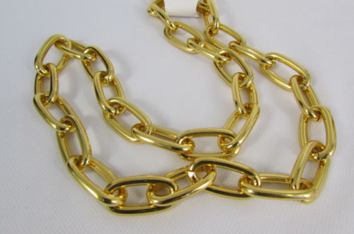 "Gold Metal Thick Chains 35"" Long Chunky Necklace New Men Biker Fashion Accessories"