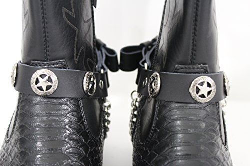 Black Pair Leather Straps Silver Texas Star Boot Chain Bracelet Men Women Western Accessories