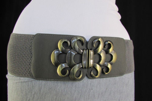Brown / Black / Gray Faux Leather Elastic Stretch Back Belt Antique Gold Buckle New Women Fashion Accessories S M - alwaystyle4you - 43