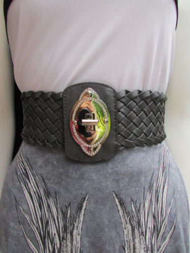 Black / Brown / Pink / Gray Wide Faux Leather Elastic Waist Hip Braided Wide Belt Silver Buckle New Women Fashion Accessories M  L - alwaystyle4you - 3