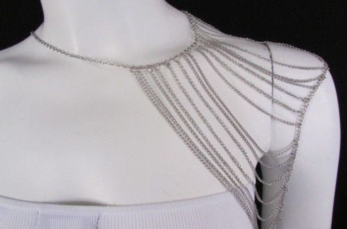 Silver Metal Thin Chain One Side Shoulder Drapes Casual Lady Gaga Style Women Accessories