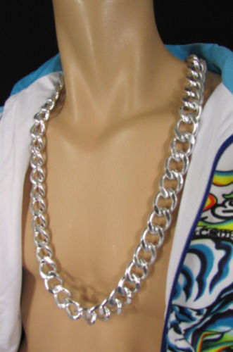 Gold Silver Metal Thick Chains Extra Long Chunky Gangster
