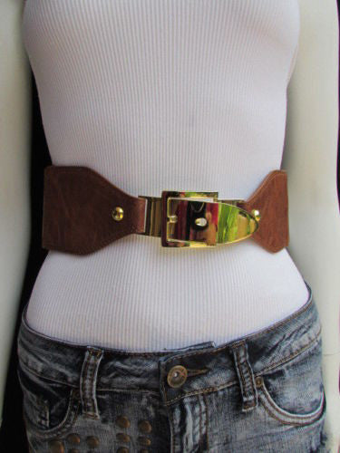 Dark Brown / Moca Brown Elastic Waist Hip Faux Leather Classic Gold Belt Buckle New Women Fashion Accessories S - M - alwaystyle4you - 24