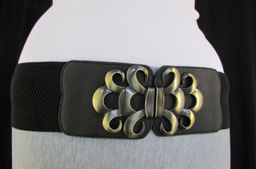 Brown / Black / Gray Faux Leather Elastic Stretch Back Belt Antique Gold Buckle New Women Fashion Accessories S M - alwaystyle4you - 48