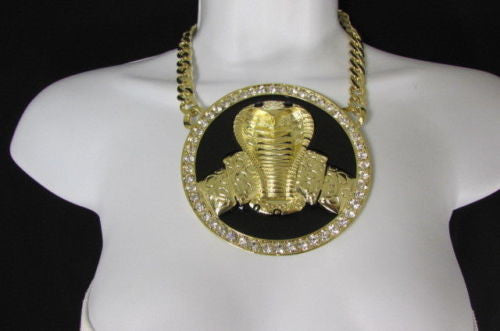 Gold Silver Metal Necklace Huge Black Cobra Snake Big Pendant Men Women Style Accessories
