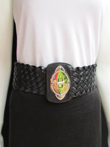 Black / Brown / Pink / Gray Wide Faux Leather Elastic Waist Hip Braided Wide Belt Silver Buckle New Women Fashion Accessories M  L - alwaystyle4you - 10