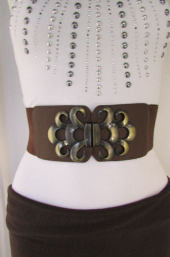 Brown / Black / Gray Faux Leather Elastic Stretch Back Belt Antique Gold Buckle New Women Fashion Accessories S M - alwaystyle4you - 6