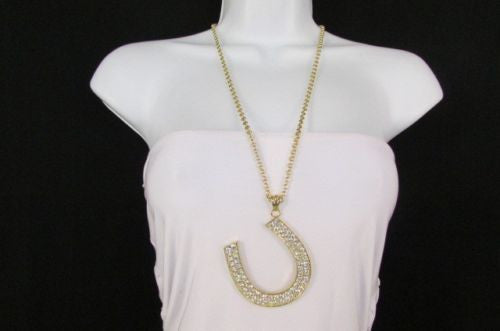 Gold Silver Metal Chain Long Necklace Horse Shoe Rhinestones Pendant New Men Fashion Style Accessories