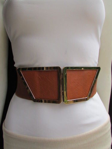 Blue / Dark Brown / Moca Brown Wide Elastic Waist Hip Stretch Back Belt Gold 80's Buckle New Women Fashion Accessories XS - M - alwaystyle4you - 10