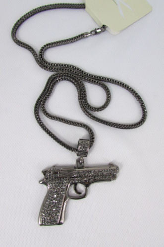 Pewter Metal Necklace Big Pistol Gun Pendant Hip Hop New Men Fashion Gangster Style - alwaystyle4you - 4