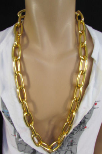 "Chunky Metal Thick Chains 35"" Long Necklace Silver Gold Hip Hop New Men Biker Fashion - alwaystyle4you - 10"