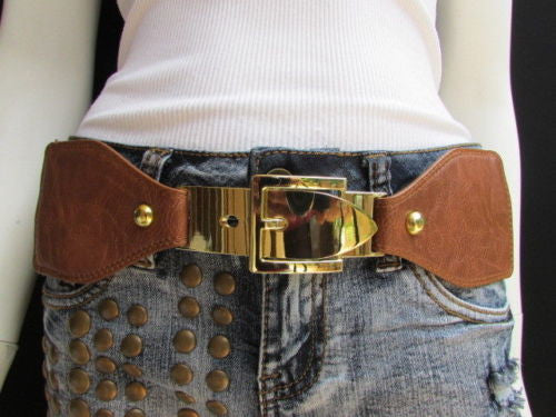 Dark Brown / Moca Brown Elastic Waist Hip Faux Leather Classic Gold Belt Buckle New Women Fashion Accessories S - M - alwaystyle4you - 20