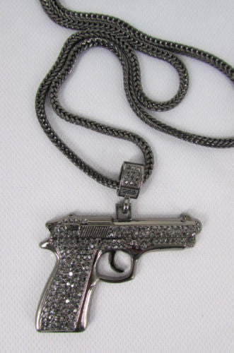 Pewter Metal Necklace Big Pistol Gun Pendant Hip Hop New Men Fashion Gangster Style - alwaystyle4you - 6
