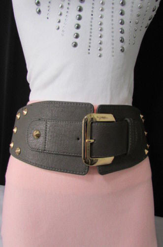 Dark Gray / Black Stretch Elastic Back Faux Leather Wide High Waist Hip Belt Gold Buckle Studs New Women Fashion Accessories S M - alwaystyle4you - 8