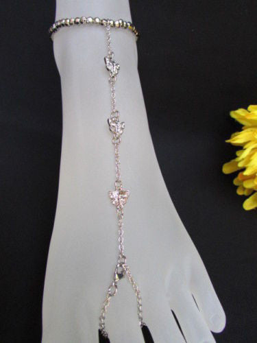 Gold Silver Metal Casual Anklet Foot Thin Chain Anklet Small Butterfly Clear Rhinestones Women Accessories