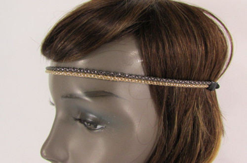 Gold Gunmetal Mesh Metal Head Band Chain Elastic Black Band Brand New Women Accessories