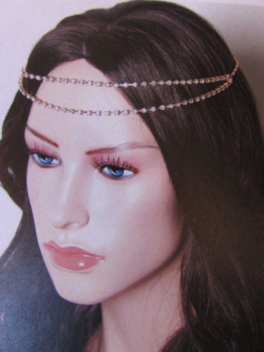 Silver Metal Head Chain Hair Piece Two Forehead Strands Rhinestones Women Accessories