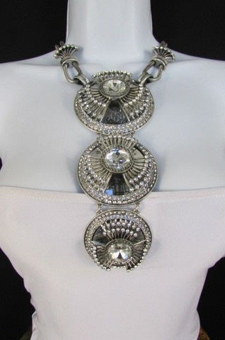 Long Silver Metal Big Crystal Flowers Pendant Necklace + Earrings Set New Women Fashion - alwaystyle4you - 1