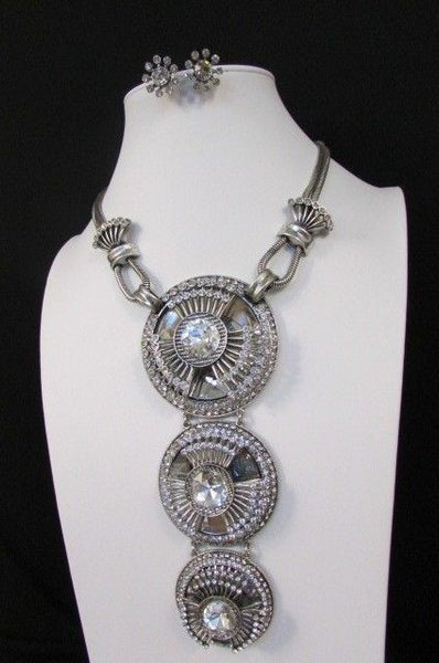 Long Silver Metal Big Crystal Flowers Pendant Necklace + Earrings Set New Women Fashion - alwaystyle4you - 2