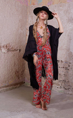 Zeppelin Jumpsuit || Red Print
