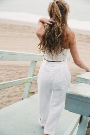 Hazel Pants || White Linen